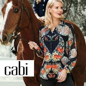 Cabi Sheer Paisley Floral Button Up Long Sleeve